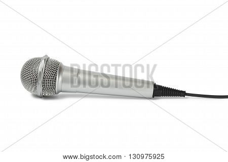 Single microphone with cable on white background