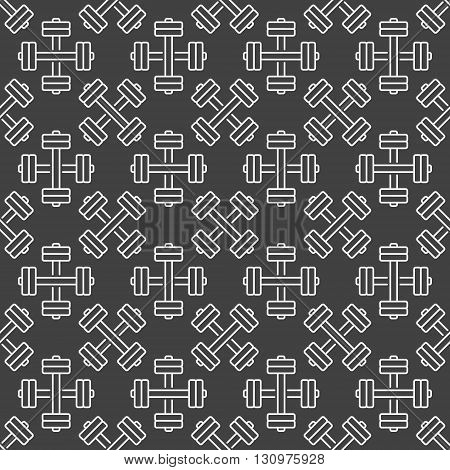 Dumbbell seamless pattern - vector dark sport and fitness texture made white linear dumbbells symbols