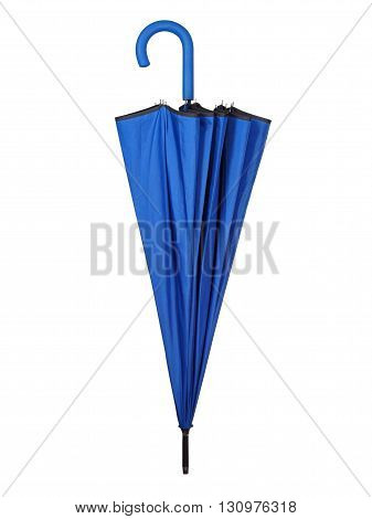 Folded blue umbrella isolated on white background