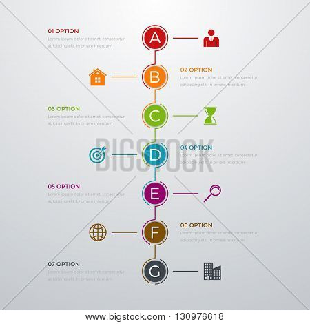 Vector illustration infographics timeline seven options. Stock vector