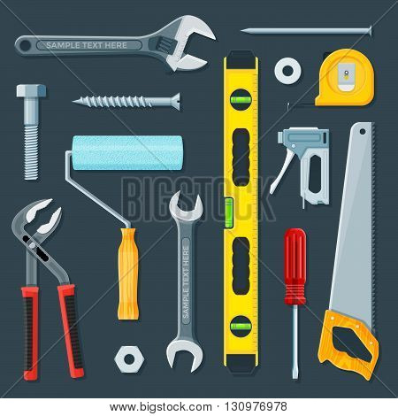 Remodel Construction Tools Illustration Set.
