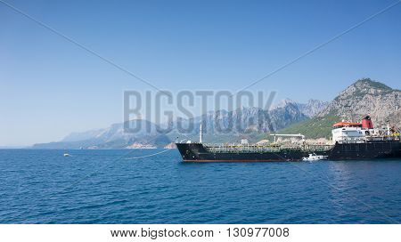 Cargo ship in Mediterranean Sea, Antalya, Turkey