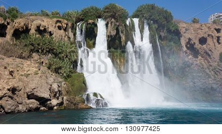 High waterfall in Mediterranean Sea Antalya, Turkey
