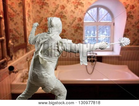 Man in toilet paper with toiletbrush