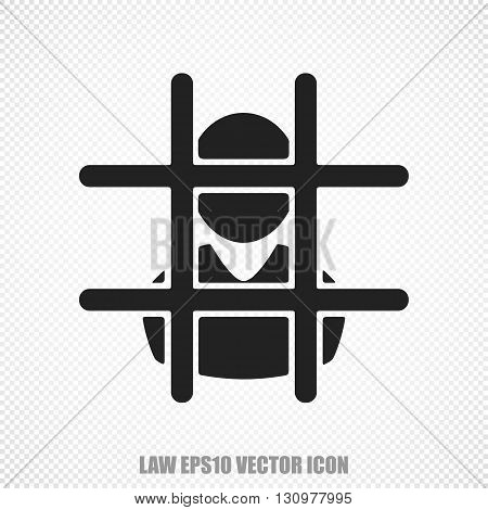 The universal vector icon on the law theme: Black Criminal. Modern flat design. For mobile and web design. EPS 10.