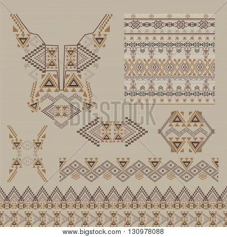 Vector set of decorative elements for design and fashion in ethnic tribal style. Neckline borders patterns and seamless texture. Aztec ornaments