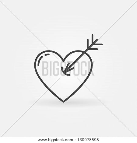 Heart with arrow icon - vector simple heart shot symbol. Romantic logo element for your design