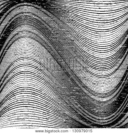 Abstract grunge background with wavy lines. Monochrome vector background