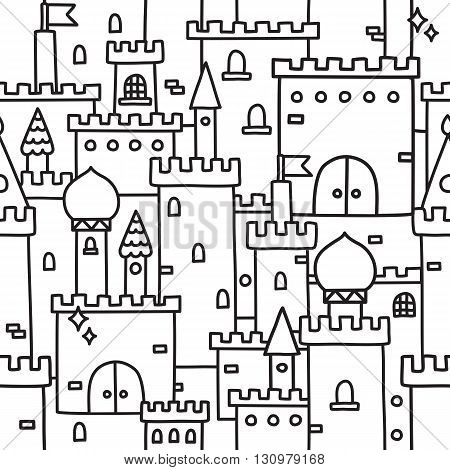 Hand drawn castle doodle tower vector background