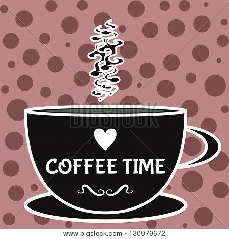 The element is black with a white outline with a drink cup and ornate steam. Background with dots. Text Coffee Time. Card.