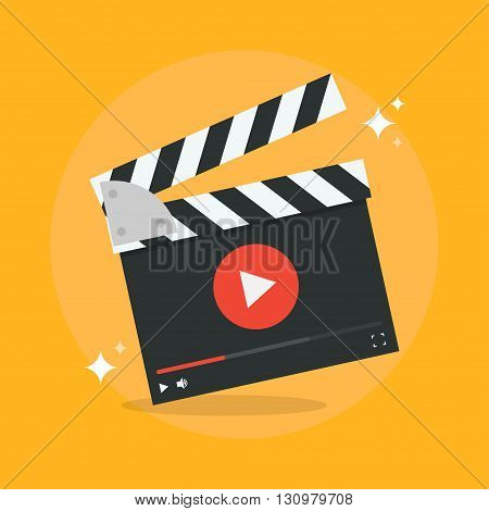 Film production concept vector illustration. Movie production icon in flat style isolated from the background. Video production design flat illustration. Film production icon.