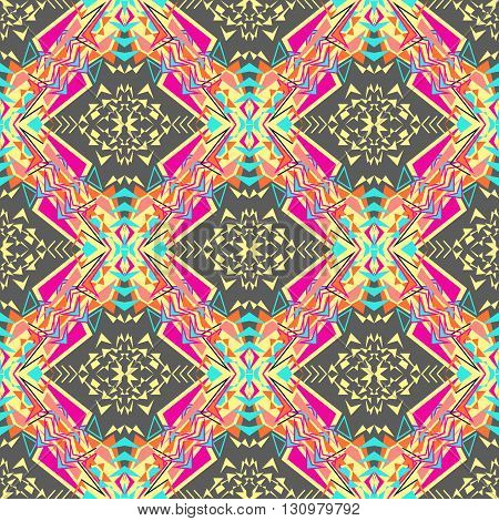 Vector seamless texture. Tribal geometric pattern. Electro boho color trend. Aztec ornamental style. Ethnic native American Indian ornaments