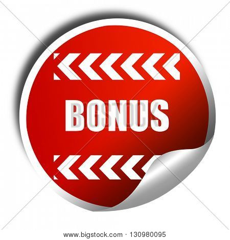 Bonus sign with smooth lines, 3D rendering, red sticker with whi