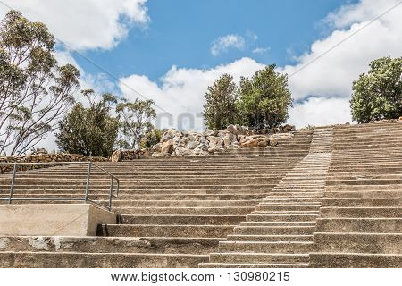 Stairs and amphitheater seating at Mt. Helix Park in La Mesa, a city in San Diego, California.
