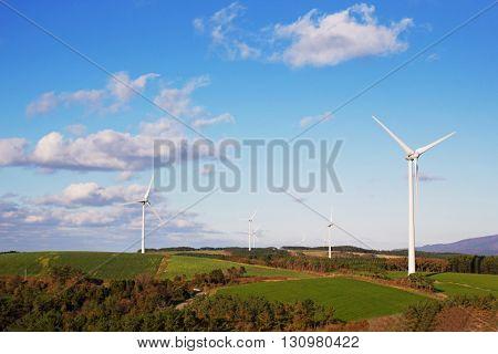 Landscape of windmill on hill at Akita Jaoan