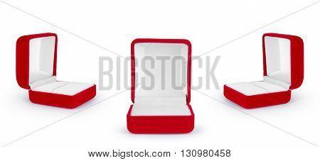 red velvet box for the ring isolated over the white background set
