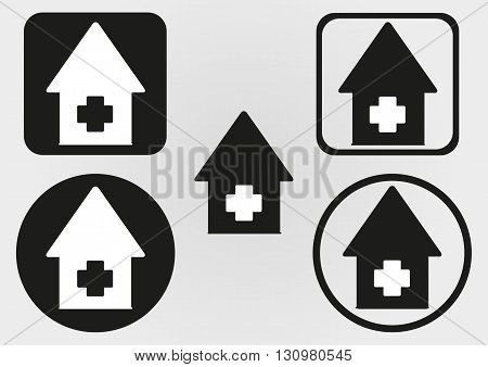 Set house icon with a cross. Circle square with rounded corners. Button logo. Flat schematic abstract image.