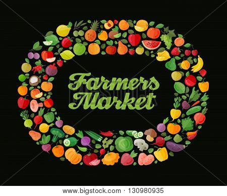 Fruit and vegetable vector background. Modern flat design. Healthy food