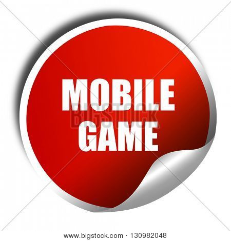 mobile game, 3D rendering, red sticker with white text