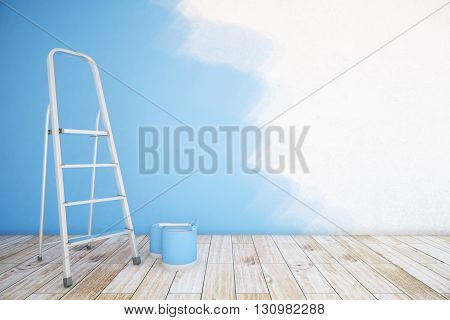 Room interior with unfinished blue wall paint buckets ladder and wooden floor. Mock up 3D Rendering