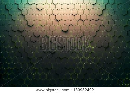Green honeycomb pattern. 3D Rendering, close up