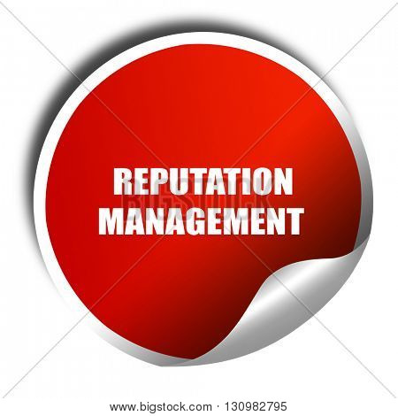 reputation management, 3D rendering, red sticker with white text