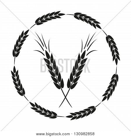 Abstract round frame with spikelets and a schematic image of a black ear. Isolated.