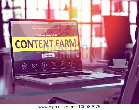 Modern Workplace with Laptop showing Landing Page with Content Farm Concept. Toned Image with Selective Focus. 3D Render.