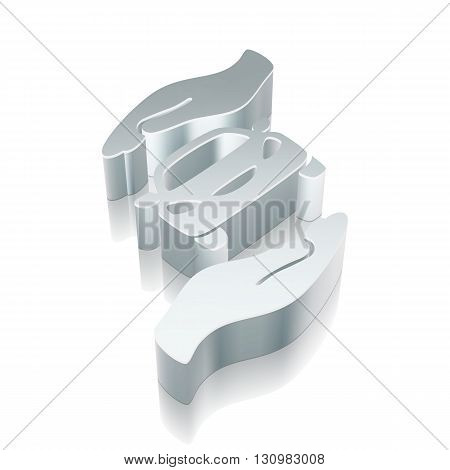 Insurance icon: 3d metallic Car And Palm with reflection on White background, EPS 10 vector illustration.