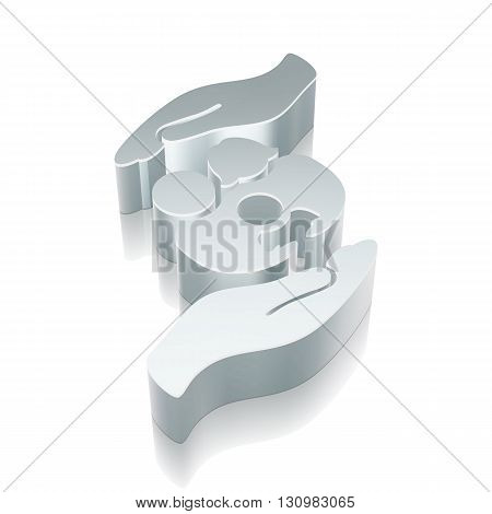 Insurance icon: 3d metallic Family And Palm with reflection on White background, EPS 10 vector illustration.