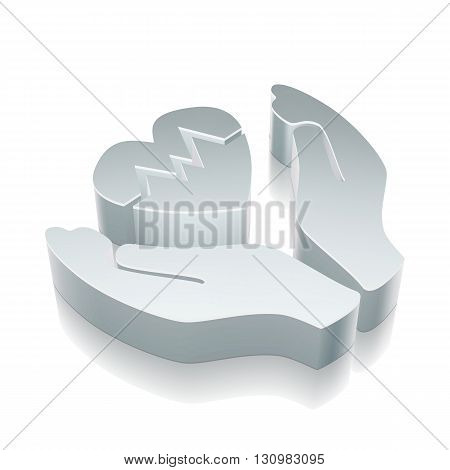 Insurance icon: 3d metallic Heart And Palm with reflection on White background, EPS 10 vector illustration.