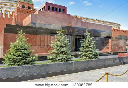 Lenin's tomb containing his embalmed body to visit the Red Square in Moscow Russia