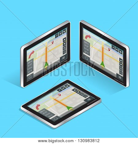 Geolocation gps navigation touch screen tablet. Mobile GPS Navigation. Tablet PC. Mobile Technologies Concept. Flat 3d vector isometric illustration