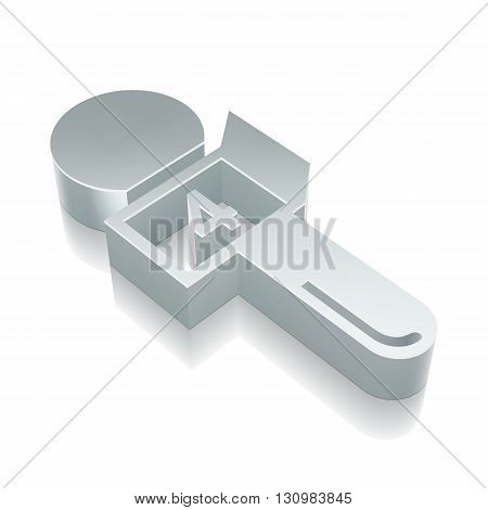 News icon: 3d metallic Microphone with reflection on White background, EPS 10 vector illustration.