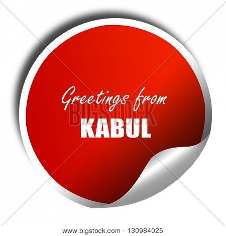 Greetings from kabul, 3D rendering, red sticker with white text