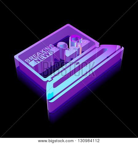 News icon: 3d neon glowing Breaking News On Laptop made of glass with reflection on Black background, EPS 10 vector illustration.