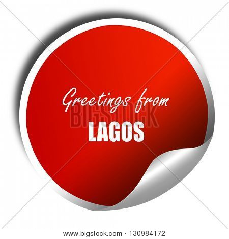 Greetings from lagos, 3D rendering, red sticker with white text