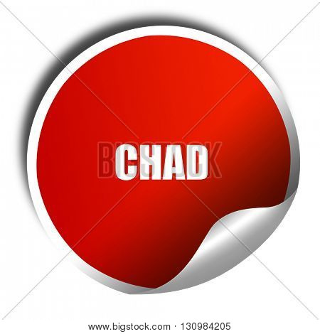 Greetings from chad, 3D rendering, red sticker with white text