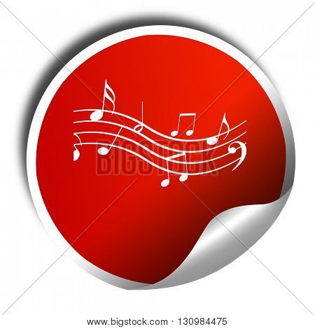 Music note background, 3D rendering, red sticker with white text