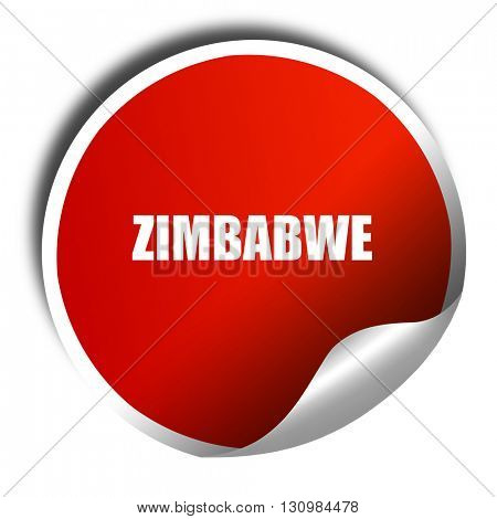 zimbabwe, 3D rendering, red sticker with white text