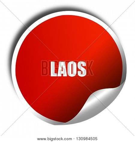 Laos, 3D rendering, red sticker with white text
