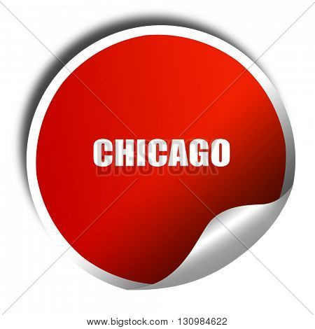 chicago, 3D rendering, red sticker with white text