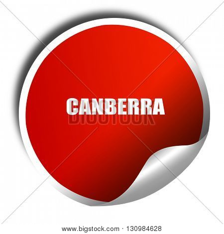 canberra, 3D rendering, red sticker with white text