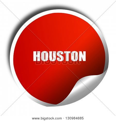 houston, 3D rendering, red sticker with white text