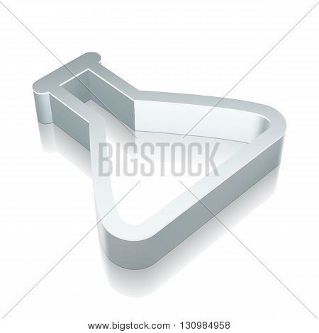 Science icon: 3d metallic Flask with reflection on White background, EPS 10 vector illustration.
