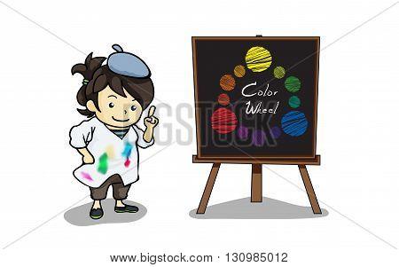 Vector illustration Art teacher with color wheel