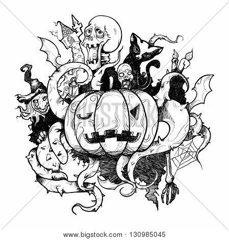 Vector illustration pen stroke Halloween pumpkin black and white