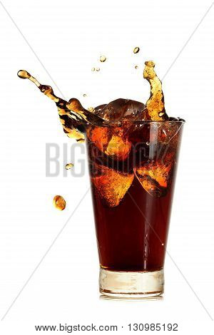 glass of soft drink with ice cubes and splash isolated on white