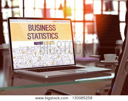 Business Statistics Concept - Closeup on Landing Page of Laptop Screen in Modern Office Workplace. Toned Image with Selective Focus. 3D Render.