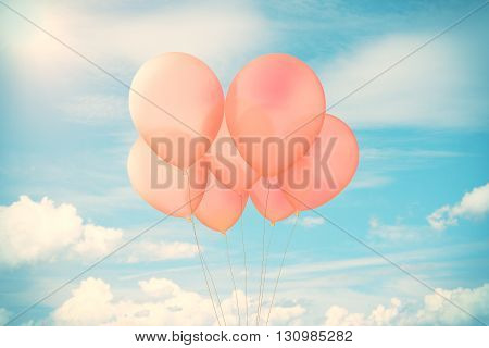 Bunch of red balloons in bright sky. Mock up 3D Rendering